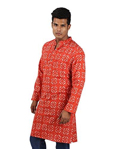 Indian Designer Handmade Cotton Short Mens Kurta Casual Punjabi Traditional Wear Clothing, Dark Peach by RAJRANG (Image #1)