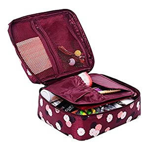 Ac.y.c Printed Multifunction Portable Travel Toiletry Bag Cosmetic Makeup Pouch Case Organizer for Travel (Wine Red Daisy)
