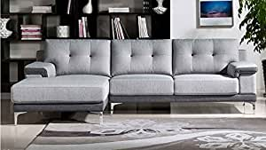 Modern Grey Fabric Tufted Hazel Sectional - Left Chaise