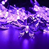M.best Waterproof 4.8M/16FT 20LEDs Solar Lamps Butterfly garland fairy Christmas Outdoor Garden Party solar led decoration light ( Purple)