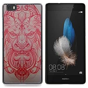 For Huawei Ascend P8 Lite (Not for Normal P8) Case , Lion Architecture médiévale Sculpture Rouge - Diseño Patrón Teléfono Caso Cubierta Case Bumper Duro Protección Case Cover Funda