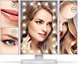 tri fold makeup mirror with lights Vanity Mirror with Lights - 22 LEDs - Lighted Makeup Mirror with 10X/3X/2X Magnification and Touch Screen - 180 Degree Rotation - Cosmetic Make Up Trifold Table Light Up Mirrors for Travel (White)