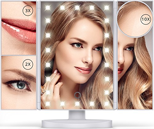 Vanity Mirror with Lights - 22 LEDs - Lighted Makeup Mirror with 10X/3X/2X Magnification and Touch Screen - 180 Degree Rotation - Cosmetic Make Up Trifold Table Light Up Mirrors for Travel -