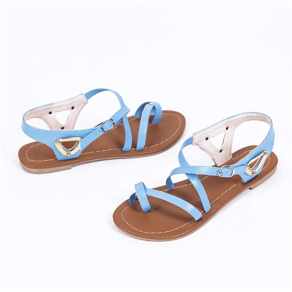 VECDY Nouveau Produit Ventes Multicolores en Option Femmes Dames /ét/é Occasionnels Grande Taille Sandales De Plage Plates Chaussures Romaines