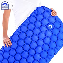 Comfi Camp Sleeping pad – Comfortable Camping Mattress – Compact Ultralight Air Camp Bed for Traveling & Outdoor Activities – Portable Backpacking Mat with Storage Bag & Eye Mask