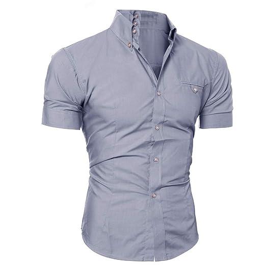 Amlaiworld Camisetas Hombre Manga Corta Camiseta Casual con Botones para Hombre Pull-Over Blusa de Manga Corta Camisas Personalidad de Negocios Verano ...