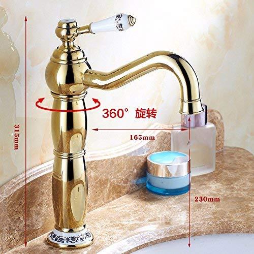 Oudan Washroom Sink Mixer Tap copper European retro style Hot and cold gold Single hole Washbasin Sit Increase high ceramics