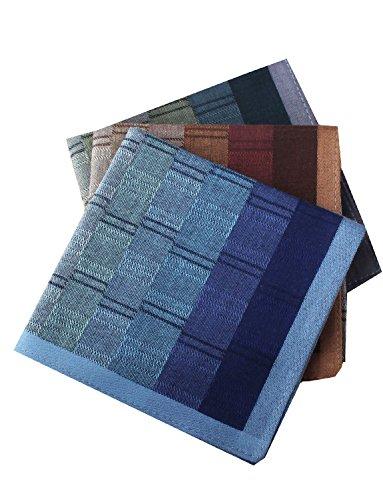 Mens Luxury Plaid Style Soft Cotton Handkerchiefs Pack by LACS Handkerchiefs