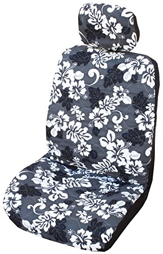 Side Airbag Compatible; Gray Monstera's Shadow Hawaiian Separate Headrest Car Seat Cover; Made in Hawaii
