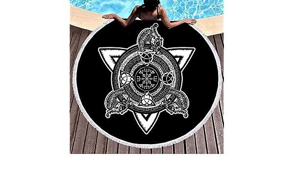 Negro y blanco, diseño de dragón en cruz, escandinavo, runas de ...