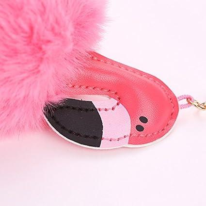 Rose JUNGEN Flamingo Keychain Pom Pom Keyring Furry Bolso Colgante Cute Fur Balls Keyring