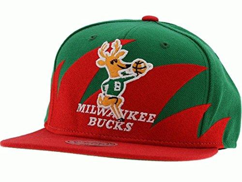 Mitchell & Ness Milwaukee Bucks Red-Green NBA Sharktooth Snapback Adjustable Hat