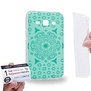 Case88 [Samsung Galaxy J1] Gel TPU Carcasa/Funda & Tarjeta de garantía - Art Fashion Turquoise Doodle Doilies 1550