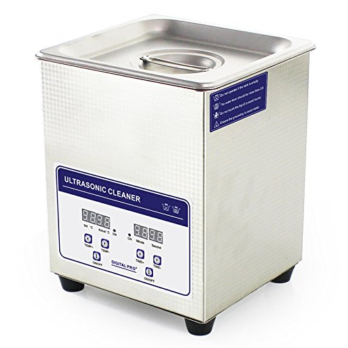 ExGizmo Ultrasonic Cleaner Stainless Steel 2L Commercial Ultrasonic Cleaner 80W Ultrasonic Power Ultrasonic Cleaner Heater Digital Timer and Temperature Display Stainless steel