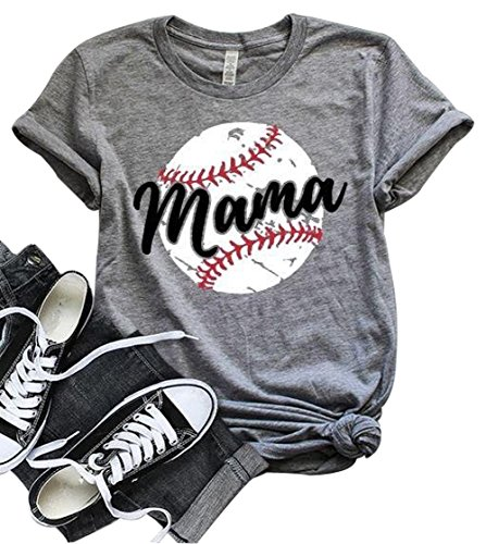 (LONBANSTR Women Baseball Mom Mama Letter Print T Shirt Short Sleeve Tops Tee)