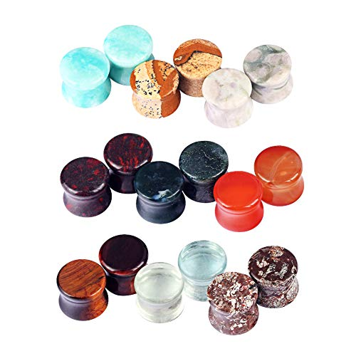 Oyaface 9 Pairs Natural Stone Ear Expanders Tunnels Plugs Gauges 2G-5/8 (16MM(5/8