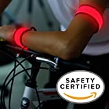 LED Safety Slap Band Armband for Cycling, Running, Jogging, and Walking - Best Reflective Flip Belt for High Visibility - Best Safety Gear for Women, Men & Kids - Safer Than a Reflective Vest - Red