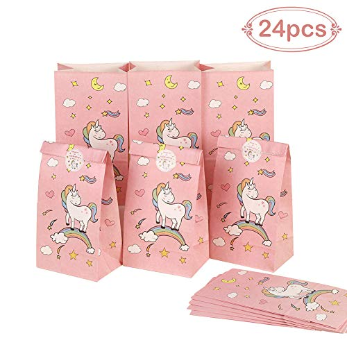 Aytai 24pcs Unicorn Paper Bags + 24pcs Unicorn Thank You Stickers for Kids Birthday Party Decorations Pink Party Favors Gift Bags Rainbow Unicorn Party Supplies -