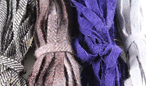 Rug Hooking Wool - 100% Wool Assorted Up-Cycle and New - #8 - Qty 100 - Purples