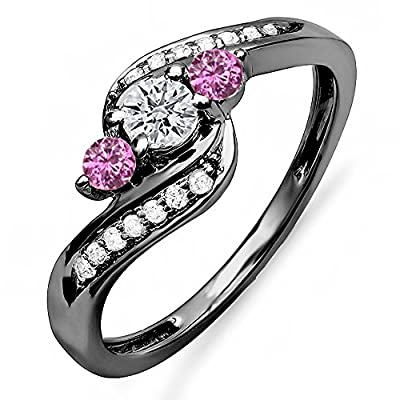 hot sell Black Rhodium Plated 10K White Gold Round Pink Sapphire & White Diamond Bridal Swirl 3 Stone Ring 1/2 CT