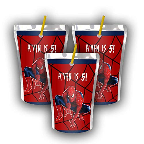 12 Personalized Spiderman Birthday Party Juice Pouch Label | Pete the Cat Party | Spiderman Birthday Supplies | Spiderman Birthday Caprisun Label | Capri Sun Label | Spiderman Party Favors