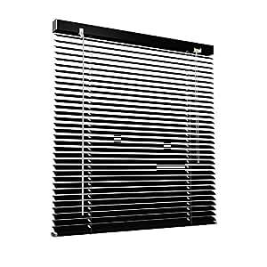 Victoria m persiana veneciana 140 x 130 cm negro persiana de aluminio fijaci n sin taladrar - Persiana veneciana de aluminio ...