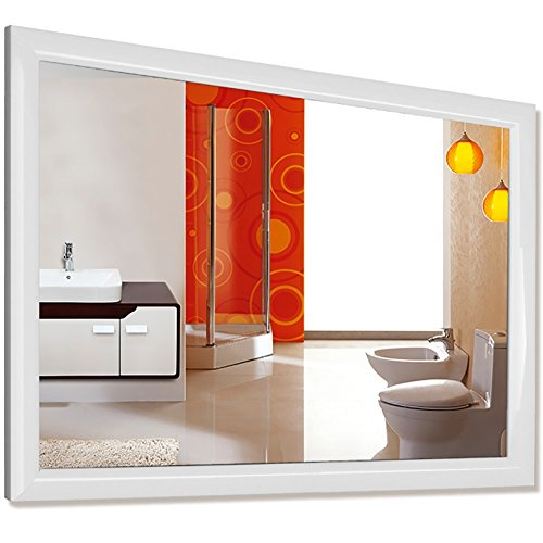 GUOWEI Mirror Wall-mounted Bathroom Makeup Dressing Rectangle Composite Material Framed Retro 3 Colors (Color : A, Size : 50X70CM) -