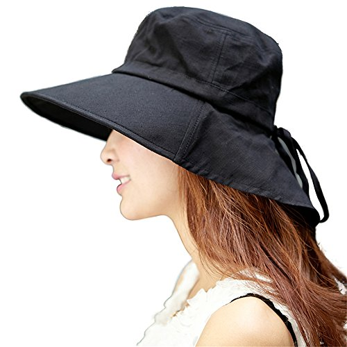 Siggi Womens Summer Flap Cover Cap Cotton UPF 50+ Sun Shade Hat with Neck Cord Wide Brim Black