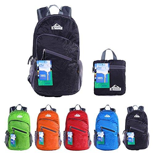 EGOGO multifunktionale haltbar stopfbare handlich leichte Reise Rucksack Daypack Schultasche Wandern Rucksack S2212 (Schwarz)