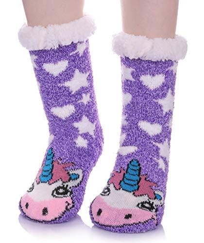 (LANLEO Womens Cute Cartoon Animal Fuzzy Slipper Socks Winter Soft Warm Fleece Lining Knit Home Socks With Grippers Unicorn)