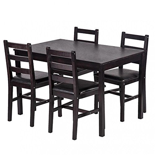 5PCS Dining Table Set Pine Wood Kitchen Dinette Table with 4 Chairs Set Solid Pine Chair