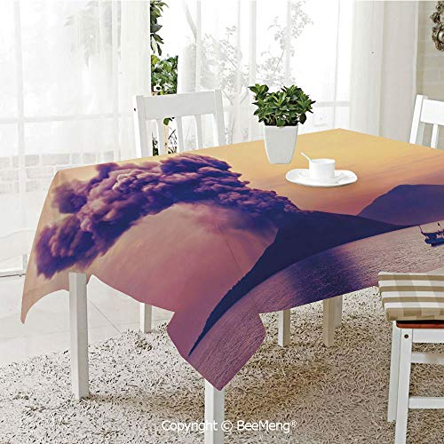 BeeMeng Large dustproof Waterproof Tablecloth,Family Table Decoration,Volcano,Dangerous Natural