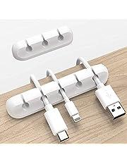 Organizador de Cabos, Silicone, 3 em 1, 5 em 1, 2 pacotes(Branco)