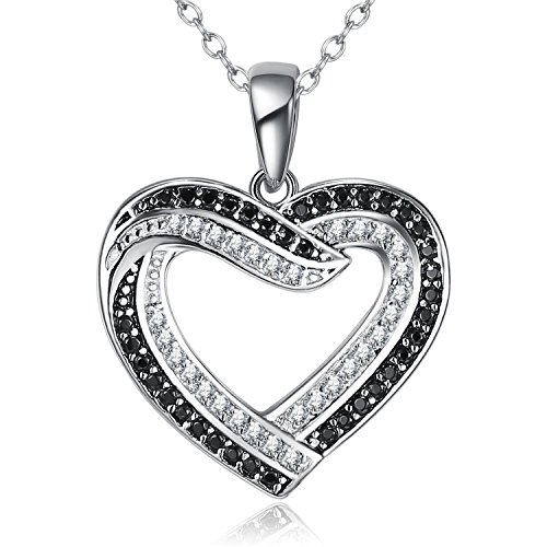 Black Diamond Infinity Pendant - BGTY 925 Sterling Silver Jewelry Two Tone Infinite Cubic Zirconia Love Heart Pendant Necklace for Women, Rolo Chain 18