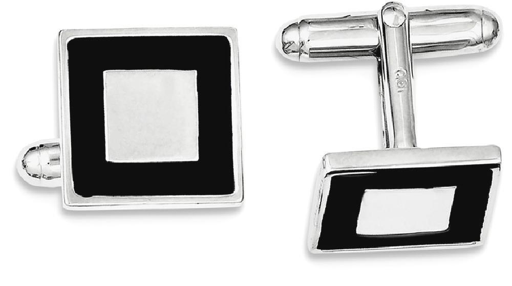 ICE CARATS 925 Sterling Silver Black Enamel Cuff Links Mens Cufflinks Man Link Fine Jewelry Dad Mens Gift Set