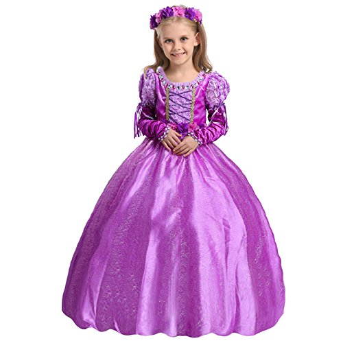 9-10 Year Old Halloween Costumes (Girl's Purple Princess Dress up Costume Fancy Party Dress Purple 150cm/ fit 9-10 years old)