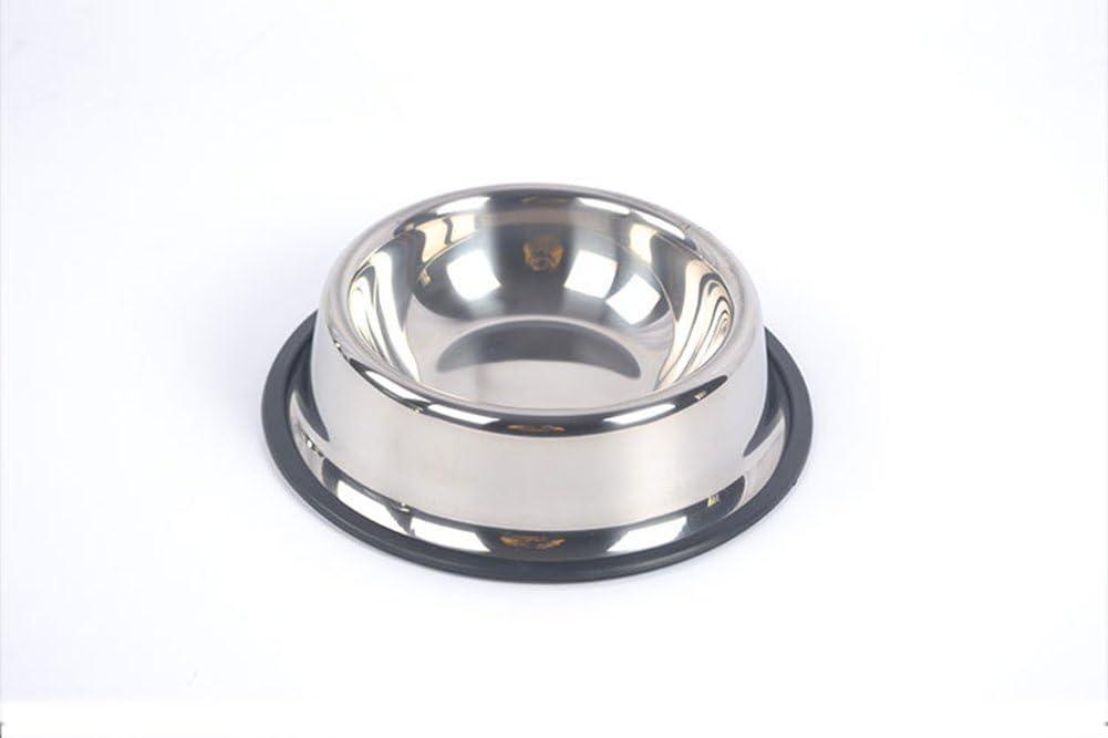 Cuenco Comedero De Acero Inoxidable para Mascotas para Perros Gatos Pequeños Cachorros Antideslizante Base BL-038,L