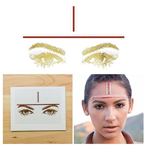 Tattify Bindi Tribal Colorful Temporary Face Rocks - Fire - Other Styles Available, Fashionable Temporary Rhinestone Gem Face Jewel Stickers - Long Lasting and Waterproof ()