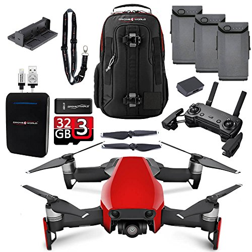 DJI Mavic Air Flame Red Fly More Combo Upgrade Kit w/ Backpack, Remote, 3 Batteries, 32GB MicroSD, Battery Bank, & Landing Pad by Drone World