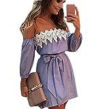 YAliDa 2019 clearance sale Women Off Shoulder Lace Dress Casual Sleeveless Party Short Mini Dress L(Large,Blue)