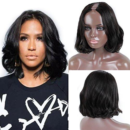 FOND U Part Wigs for Black Women Bob Lace Front Wig Human Hair Brazilian Virgin Hair Natural color 130 Density