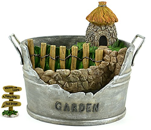 DIY - Miniature Garden Kit - Garden Planter Pot with Hut and Cute Sign that States: