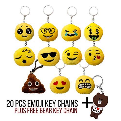 DIYJewelryDepot 20 Pcs Assorted Emoji Smiley Heart Eyes Small Plush Key Chains Pack + FREE Bear - Facebook Sunglasses Emoji