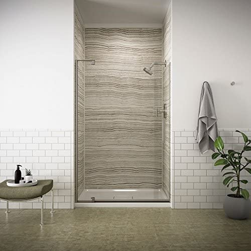 KOHLER K-707551-L-BNK Revel Pivot Shower Door with 5 16 Thick Crystal Clear Glass, 70 x 43-1 8 x 48 , Anodized Brushed Nickel