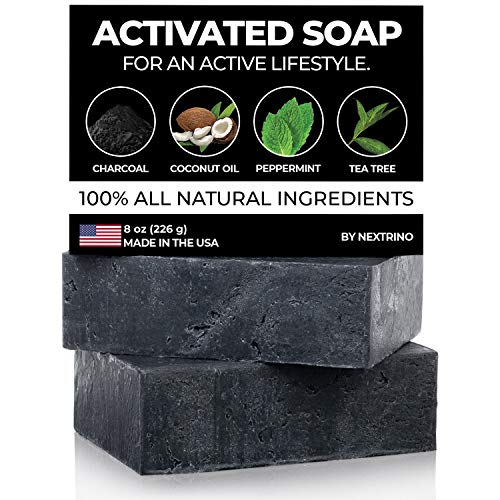 Activated Charcoal Tea Tree Soap - with Peppermint! Made in the USA: All Natural, Vegan Bar Soap with Organic Oils for Face & Body. Wash Away Odor & Germs (2-Pack of 4 Ounce Soap Bars) (Best Melt And Pour Soap For Acne)
