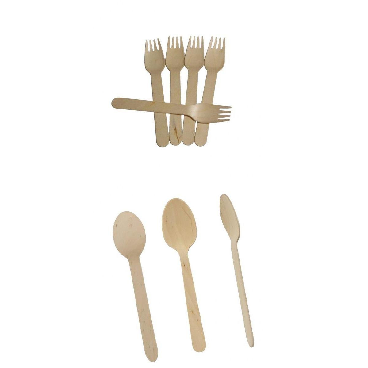 MagiDeal 100pcs Wooden Spoon 100pcs Forks Disposable Biodegradable Party BBQ Utensil