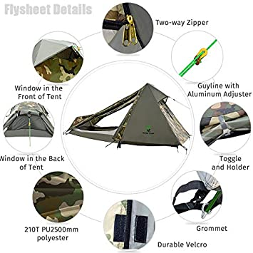 Geertop 1 Person 3-4 Season Lightweight Backpacking Bivy Tent for Camping Hiking Travel