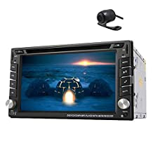 Car Double Din In-dash Autoradio Stereo Headunit Deck 6.2 Inch LCD Touch Screen GPS Navigation DVD CD MP3 USB SD Audio Bluetooth iPod Subwoofer Output Waterproof Nightvision Backup Camera
