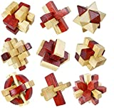 Littlefun 3D Wooden Magic Cube Brain Teaser Puzzles Rubik Chinese Traditional Interlocked Lock Block Intelligence Travel Toys Adults and Children Leisure Games (9 Pieces Set)