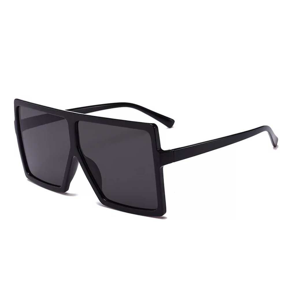 CHAUOO Oversized Super Flat Top Square Fashion Sunglasses (Black)